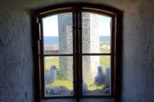 Tretåiga måsar häckar på alla åtta fönster nischar på de gamla dubbelfyrarna.